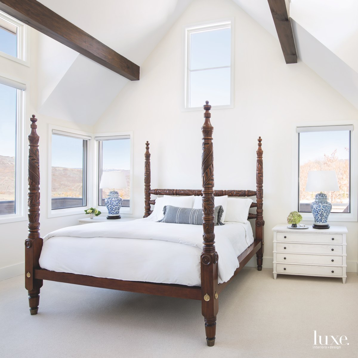 contemporary white bedroom brown frame...