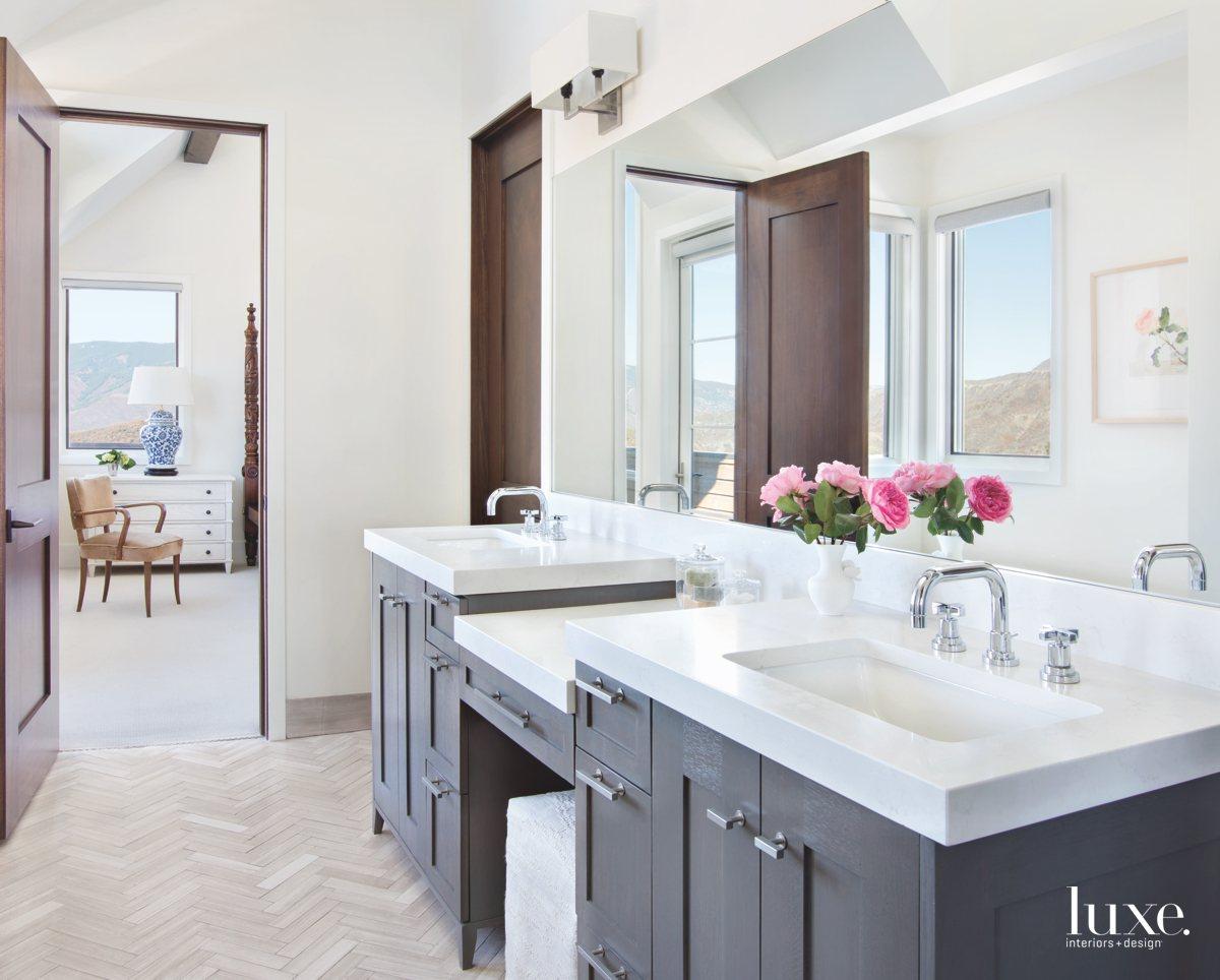 contemporary bathroom dark wood cabinetry...