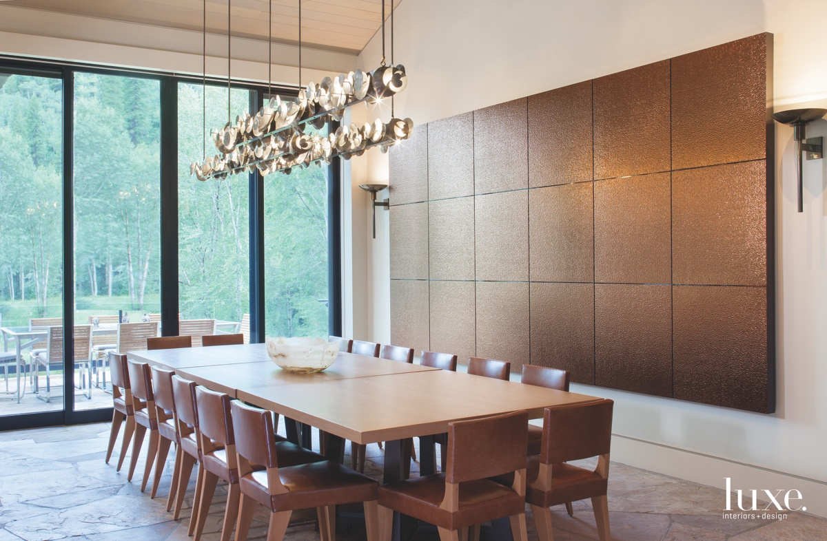 contemporary dining room brown neutral...