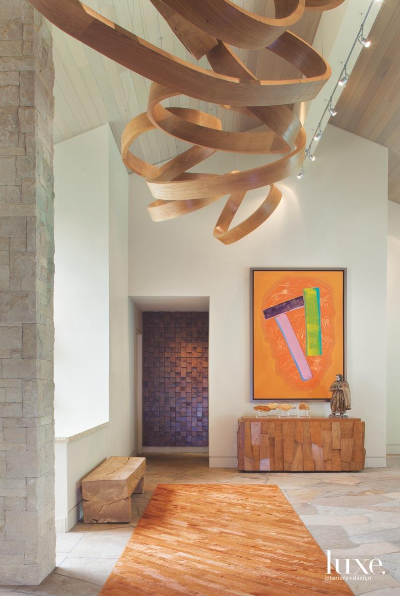 contemporary entry orange rug flagstone...
