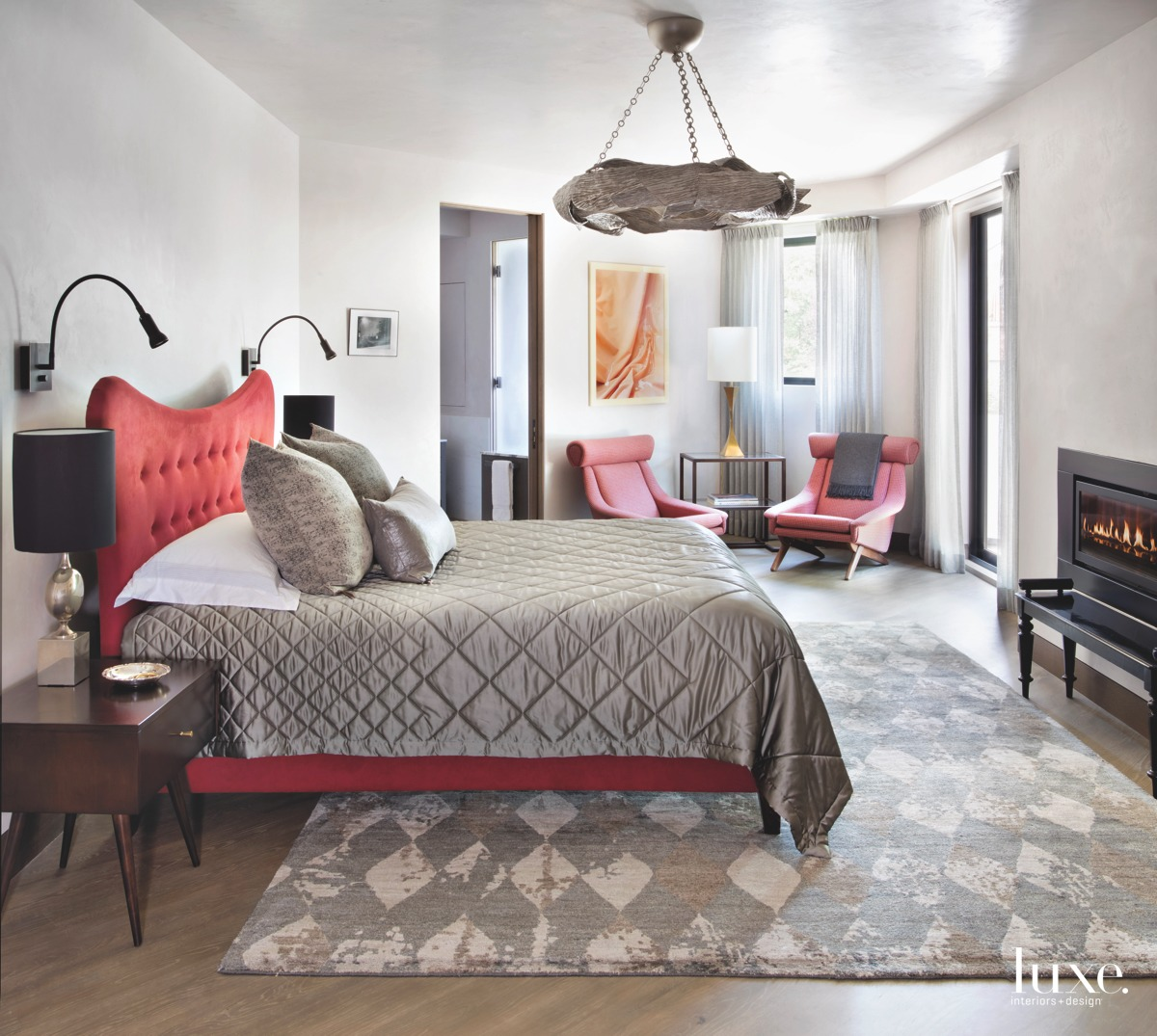 contemporary bedroom red accents