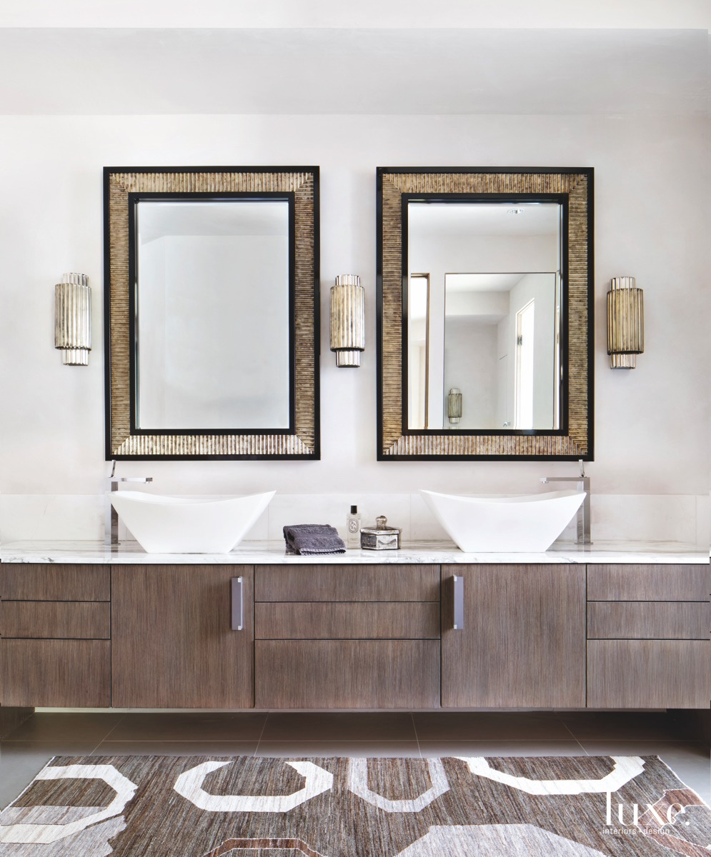 contemporary neutral bathroom matching mirrors