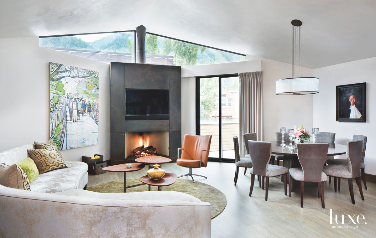 contemporary living area and dining...