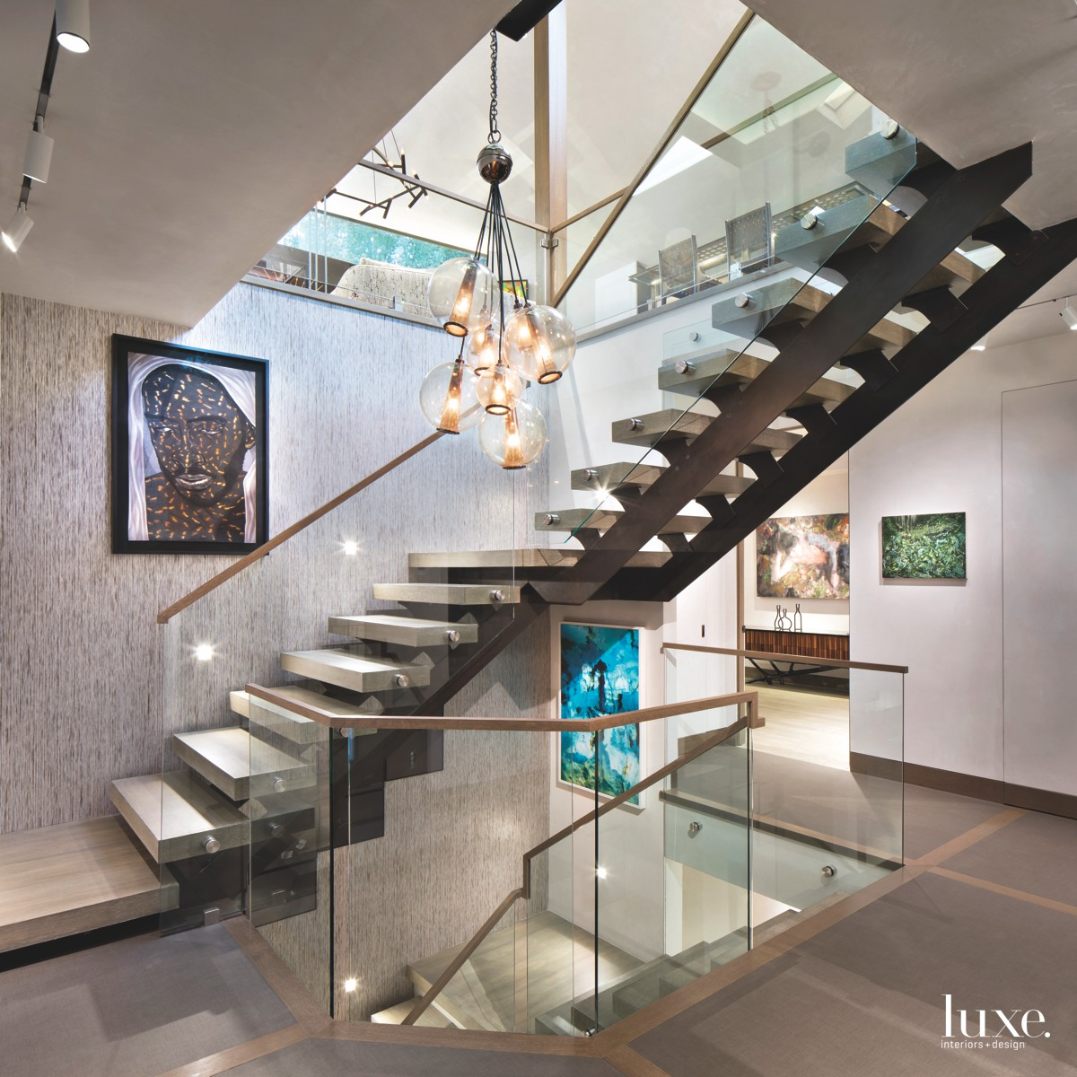 contemporary staircase glass railing floating...