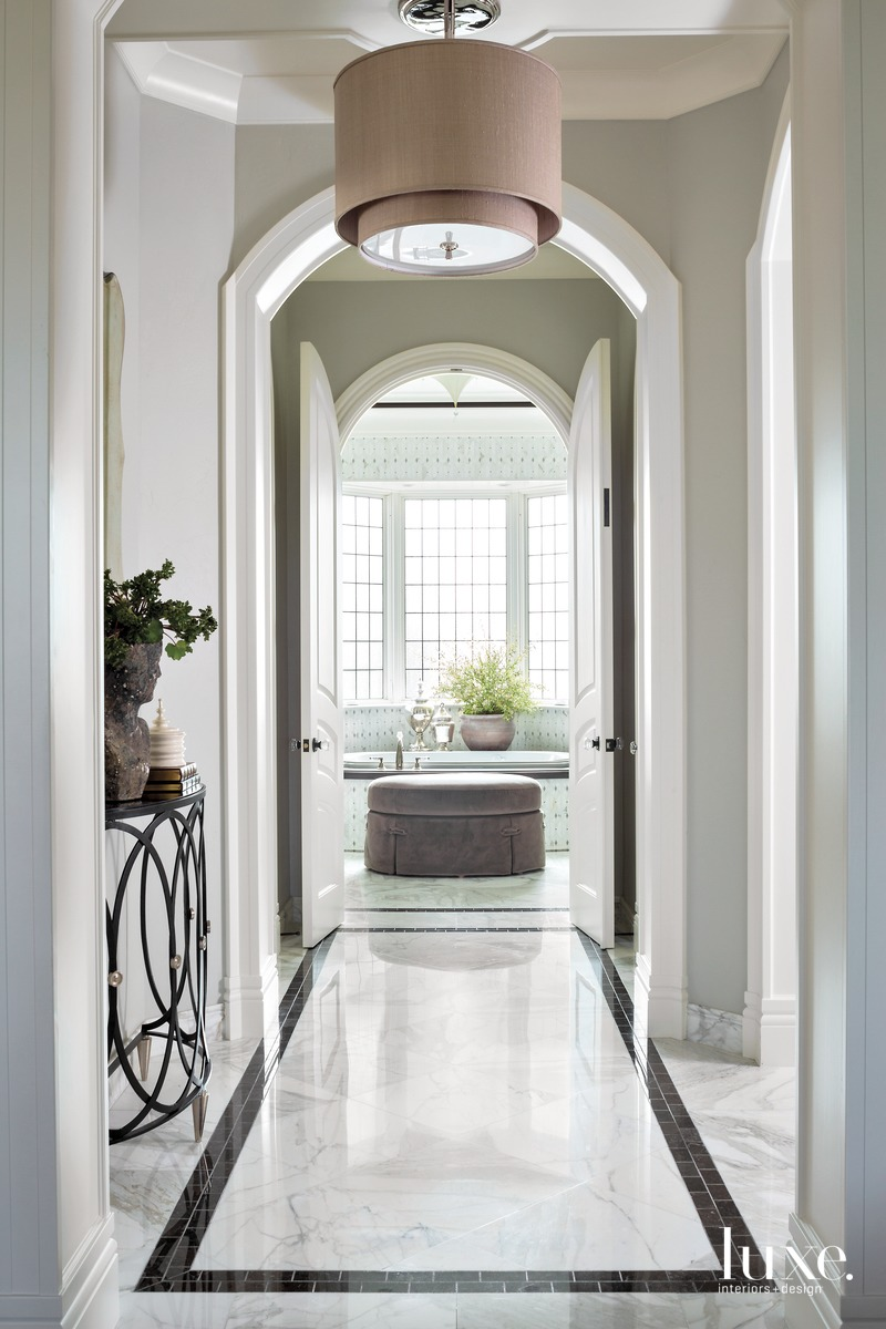 traditional neutral hallway to bathroom...