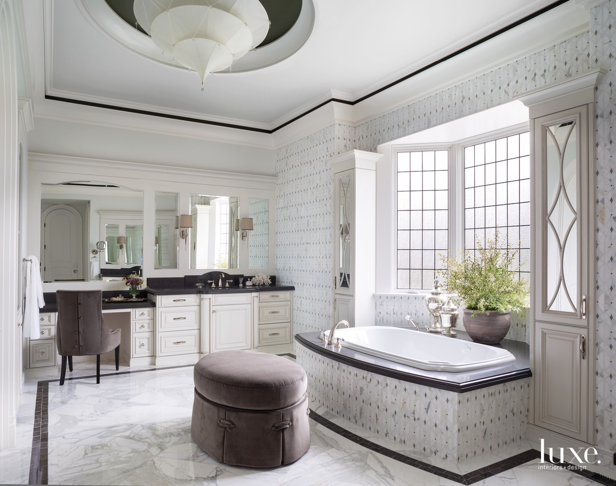 traditional white and brown bathroom