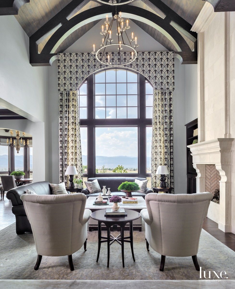 traditional neutral great room lofty...