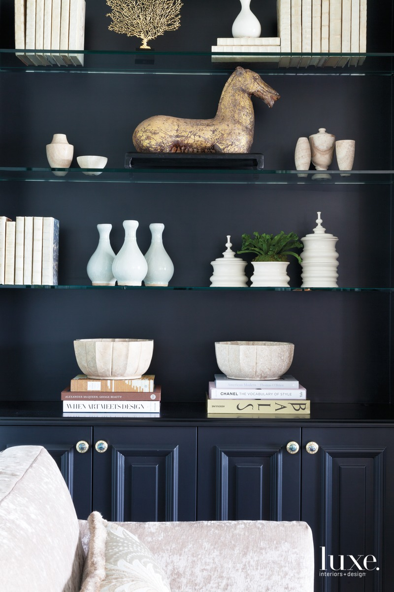 traditional music room black cabinetry