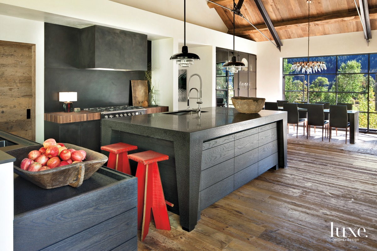 industrial kitchen black steel cabinetry...