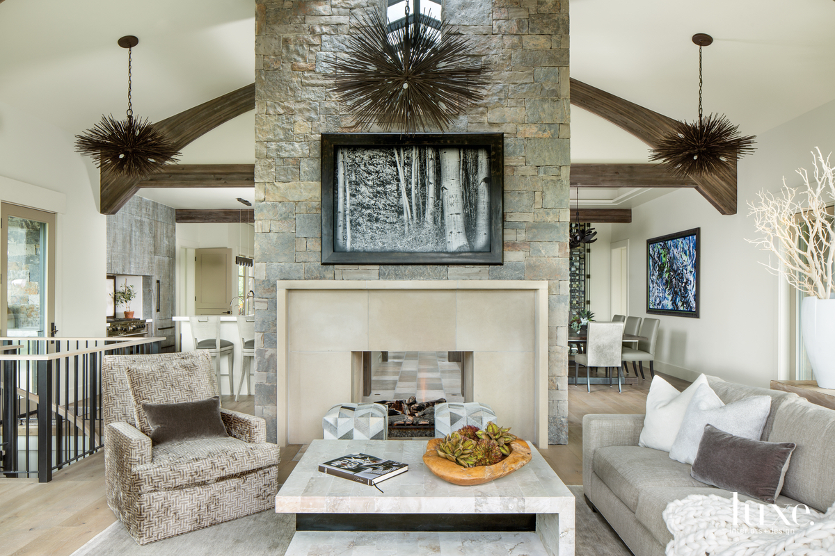 mountain neutral living room fireplace