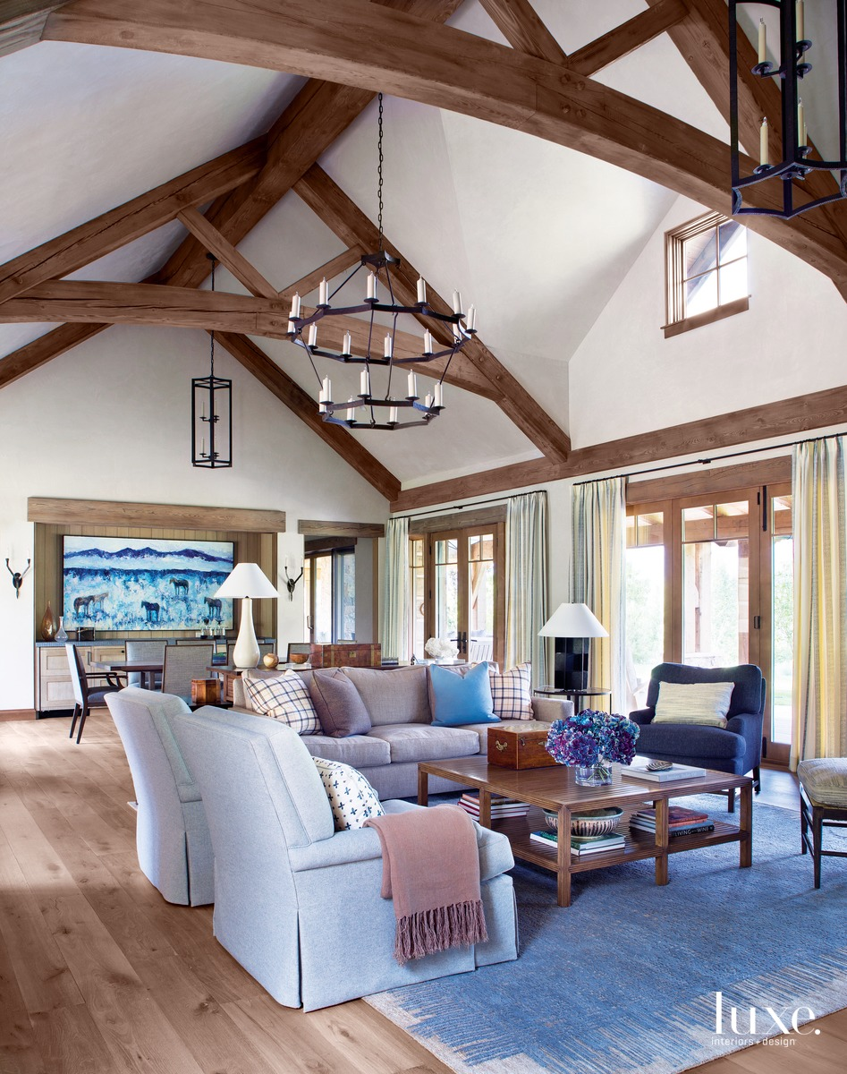 rustic great room blue accents...