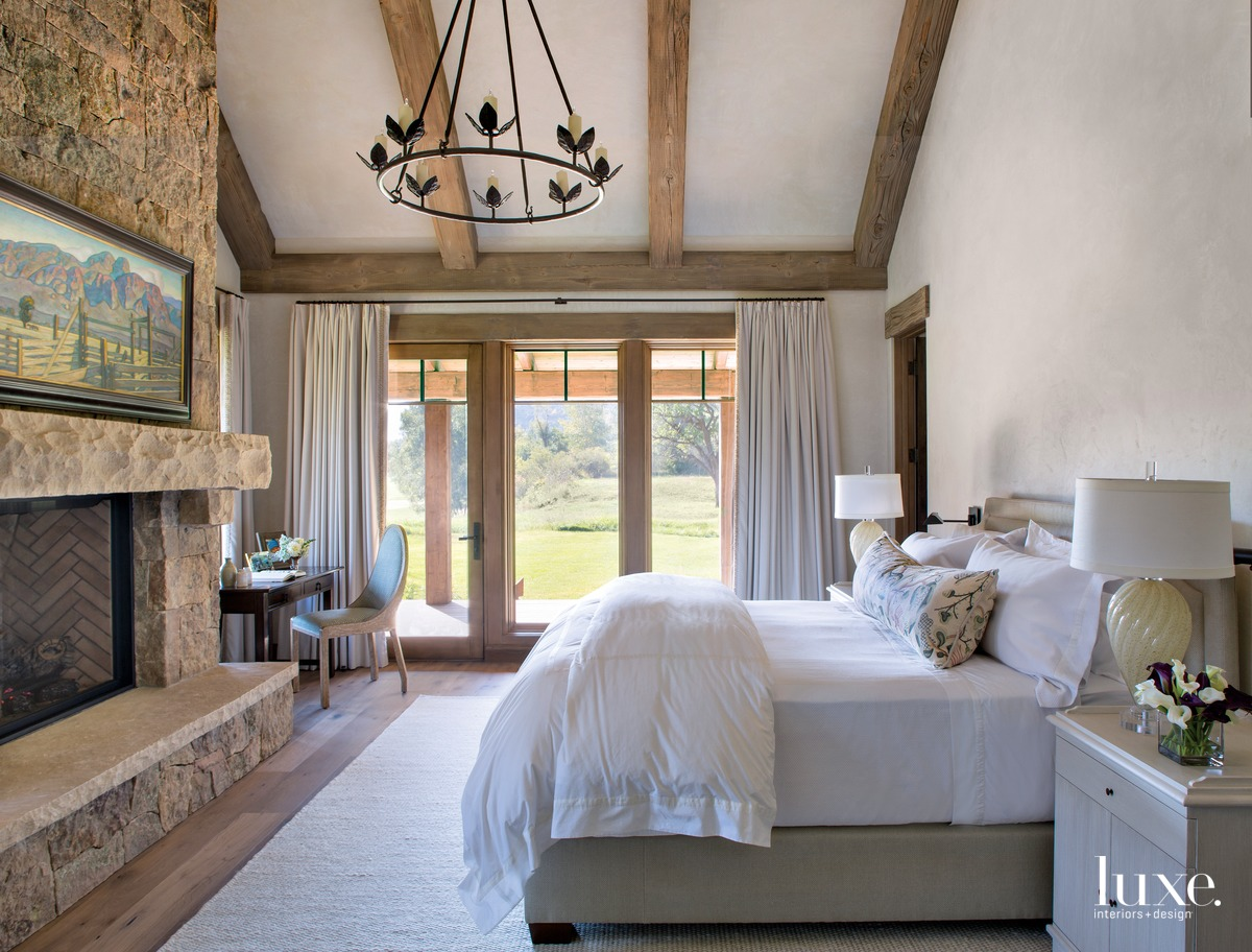 rustic neutral bedroom white bed...