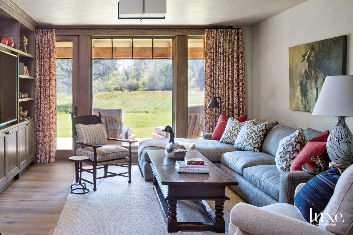rustic neutral living room red...
