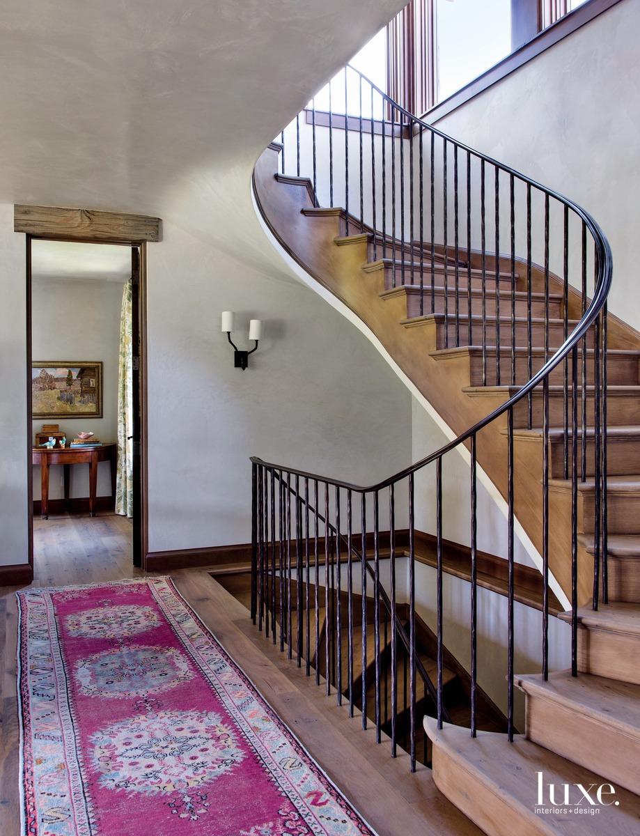 rustic metal stairway antique pink...