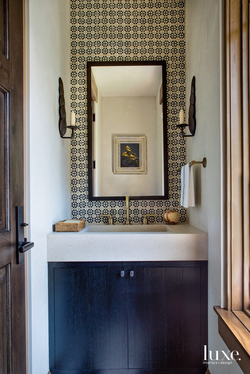 rustic bathroom sconces gold accents