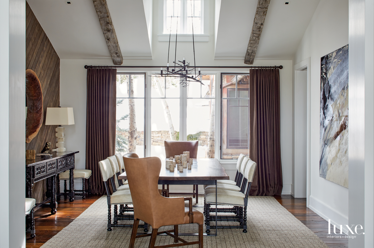 transitional dining room brown palette...