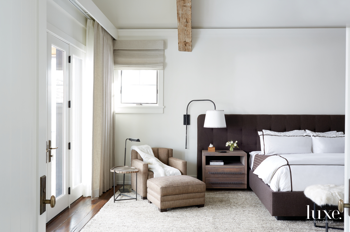 transitional bedroom white walls neutral...