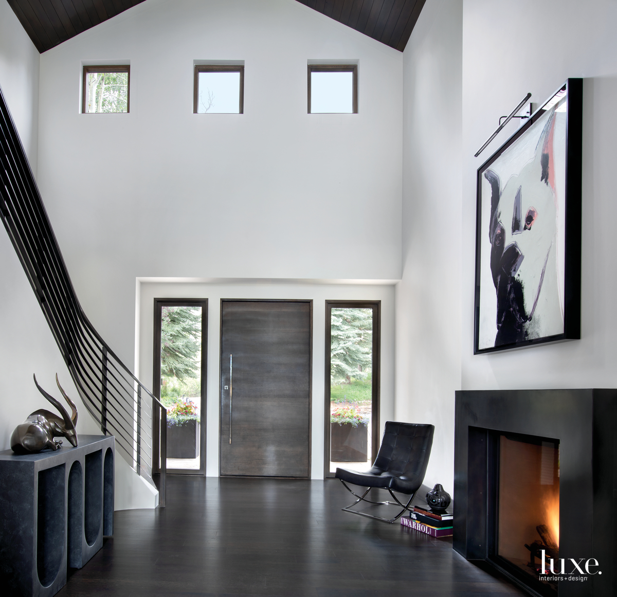 contemporary back entryway fireplace