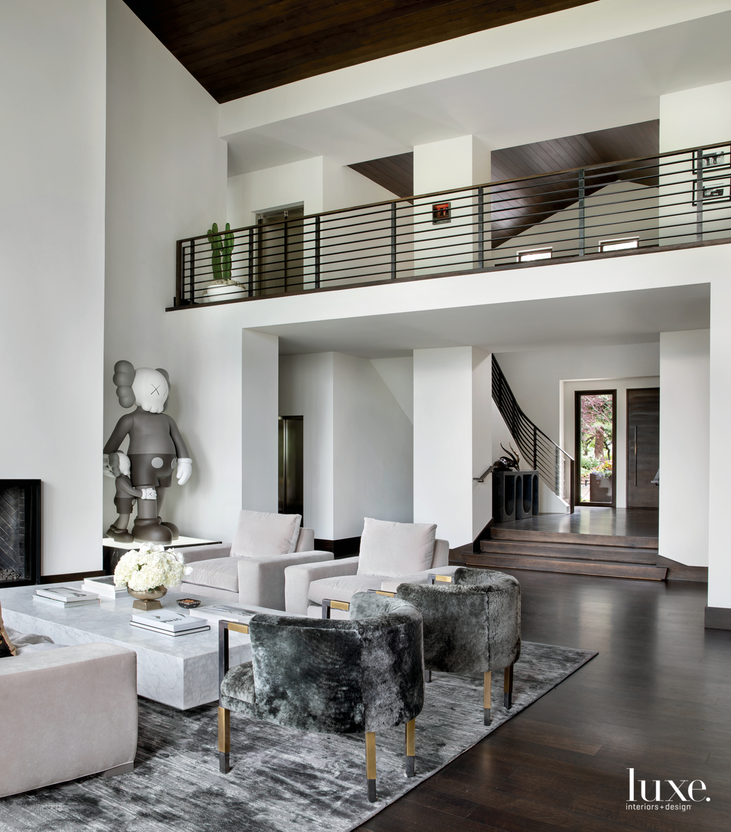 contemporary living room gray palette...