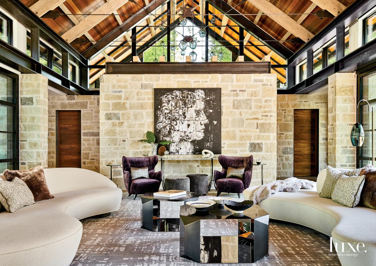 contemporary living room curved sofas...