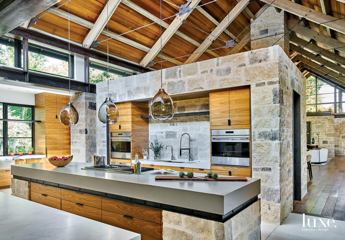 contemporary kitchen neutral palette walnut...