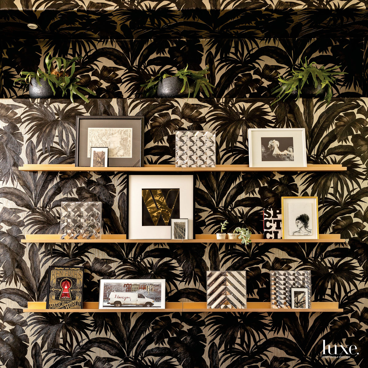 contemporary study shelving with patterned...