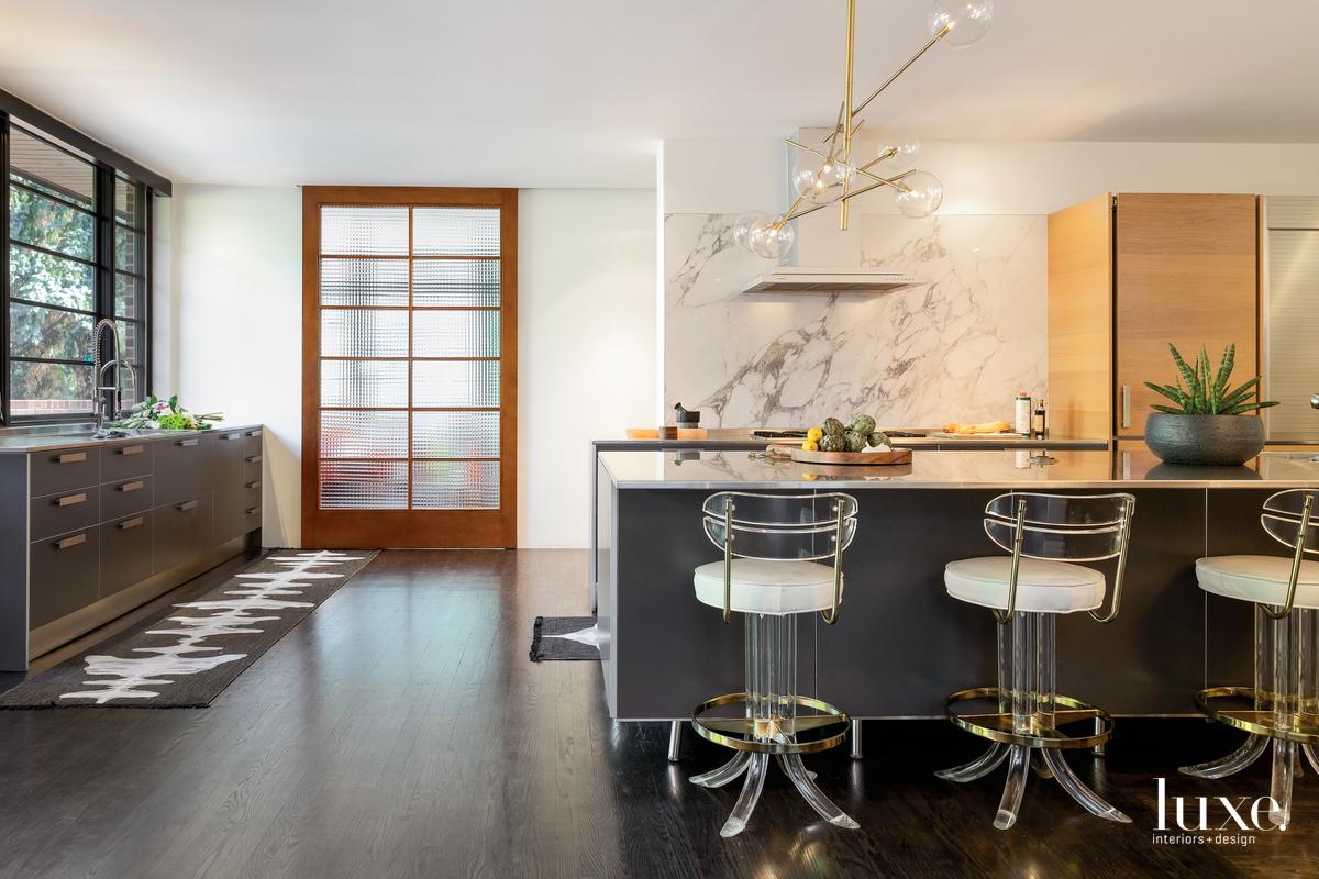 contemporary kitchen gray island white...