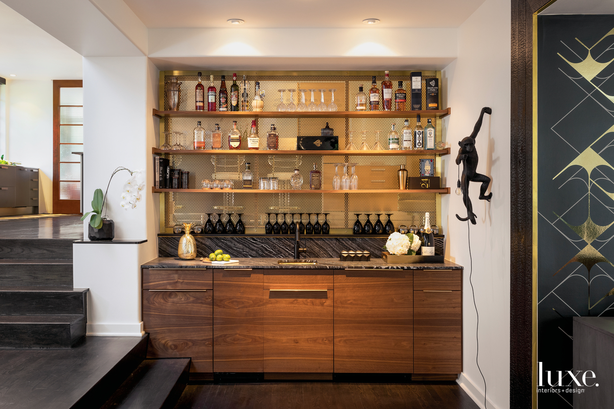 contemporary bar by game room...