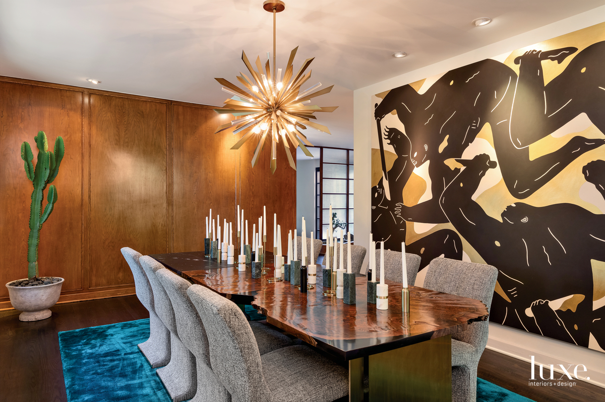 contemporary dining room brown walls...