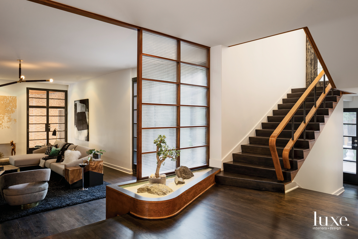 contemporary serene entry staircase oak...