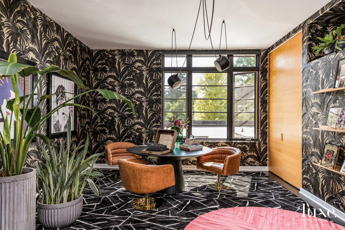 contemporary study black flooring and...
