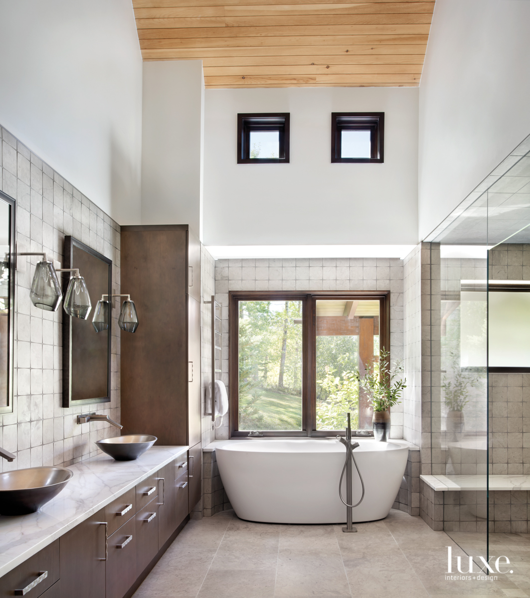 transitional neutral bathroom brown accents