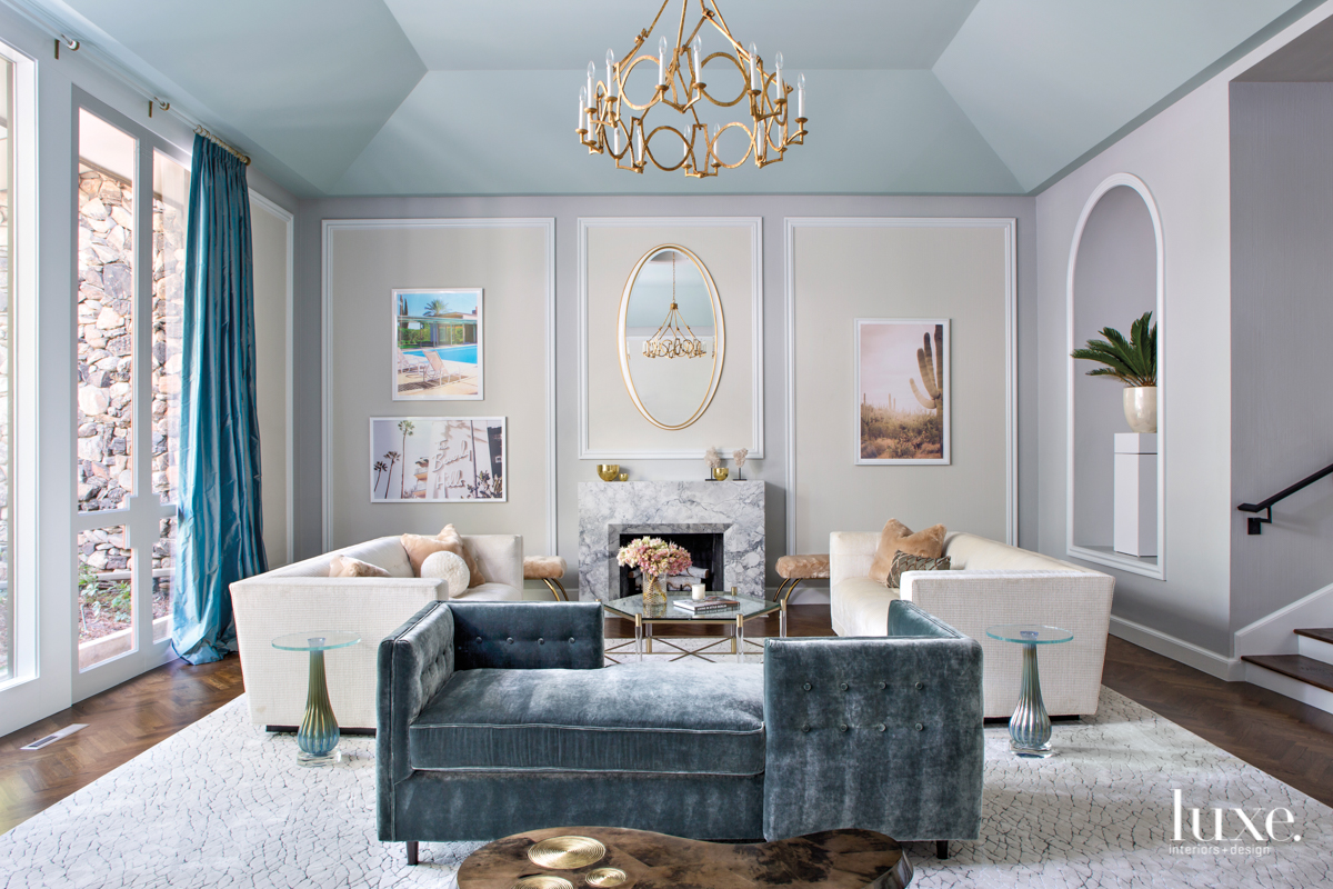mid-century modern living room neutral...
