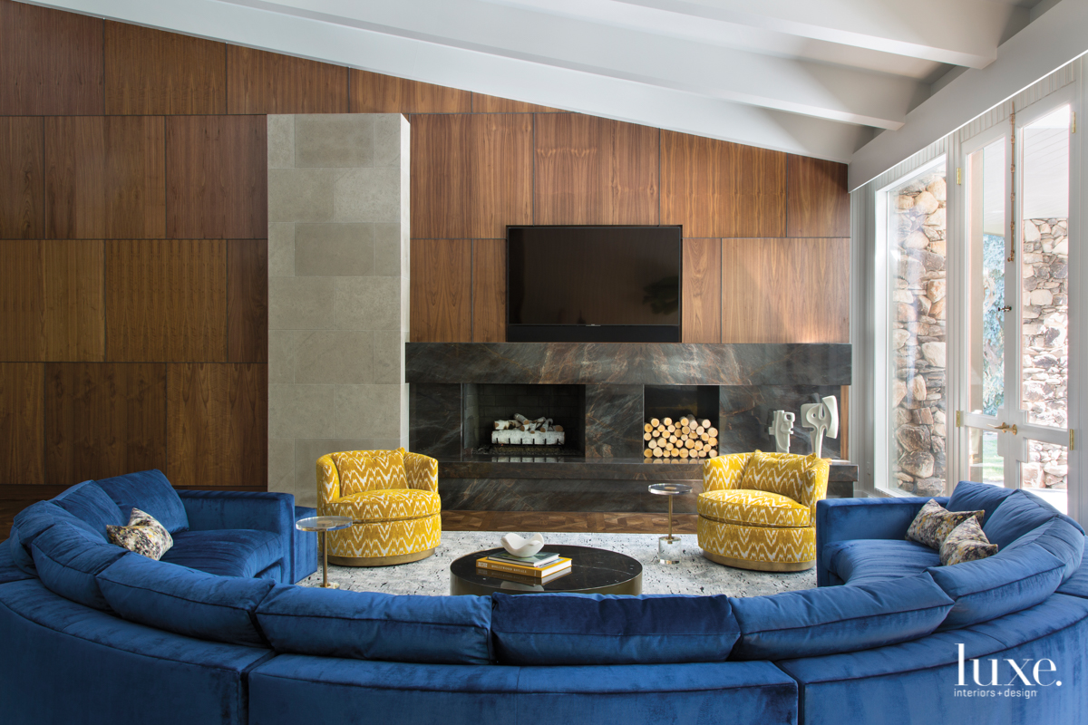 mid-century modern family room curved...