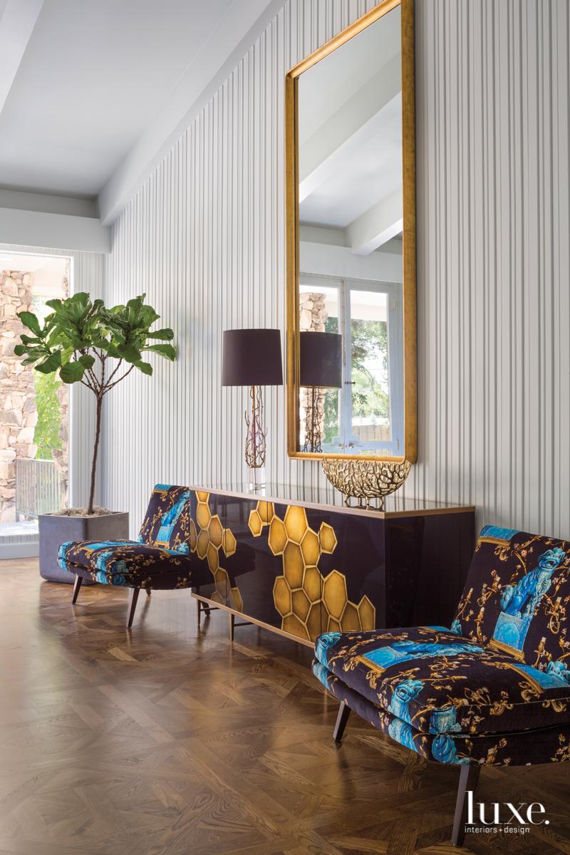 mid-century modern sitting area multi-color...
