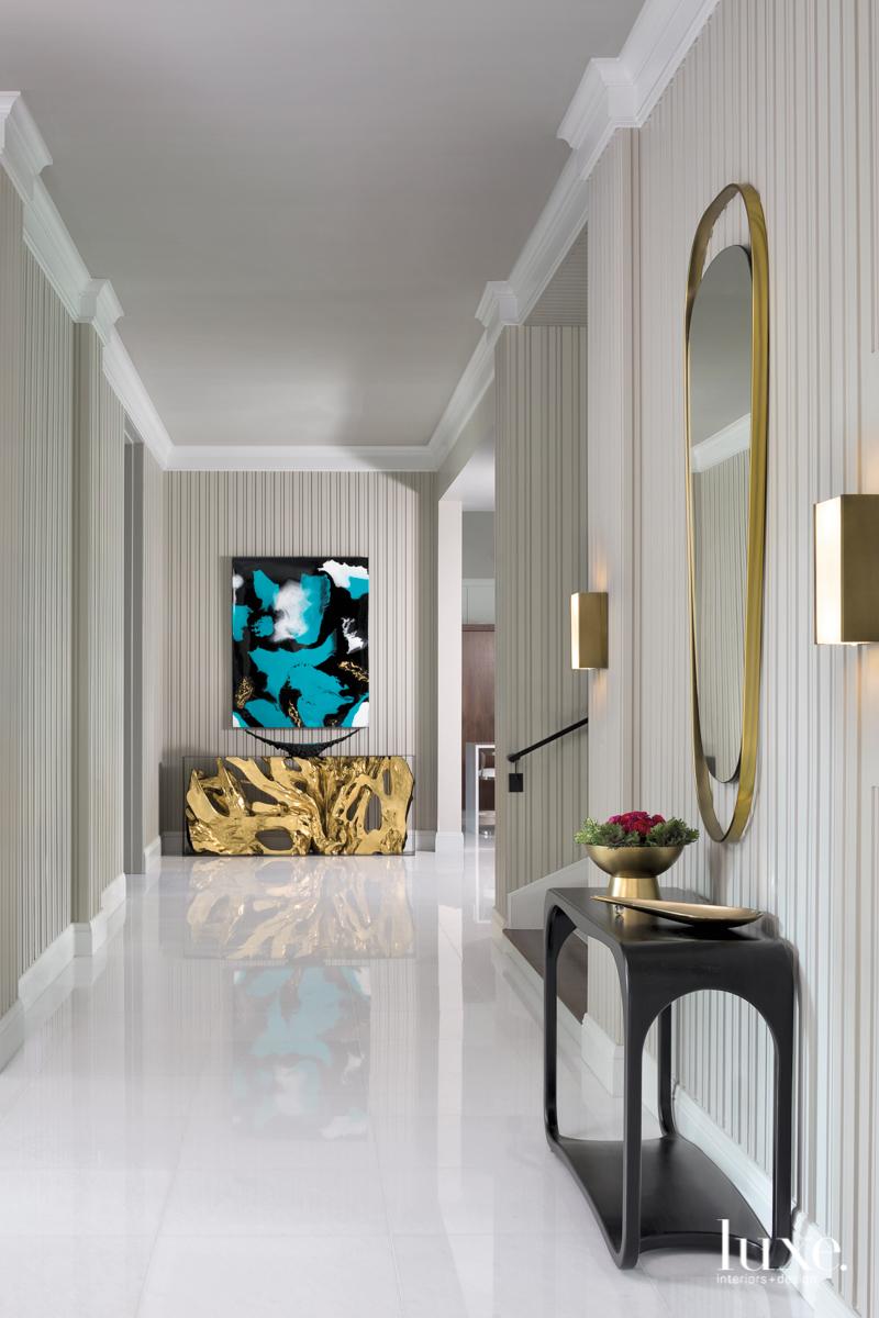mid-century modern neutral hallway black...