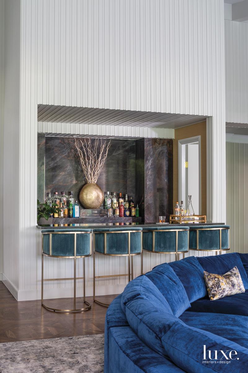 mid-century modern living room blue...