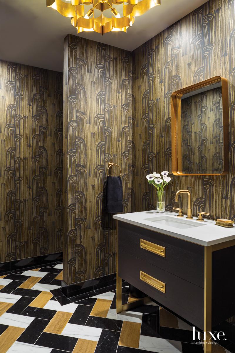 mid-century modern bathroom black and...