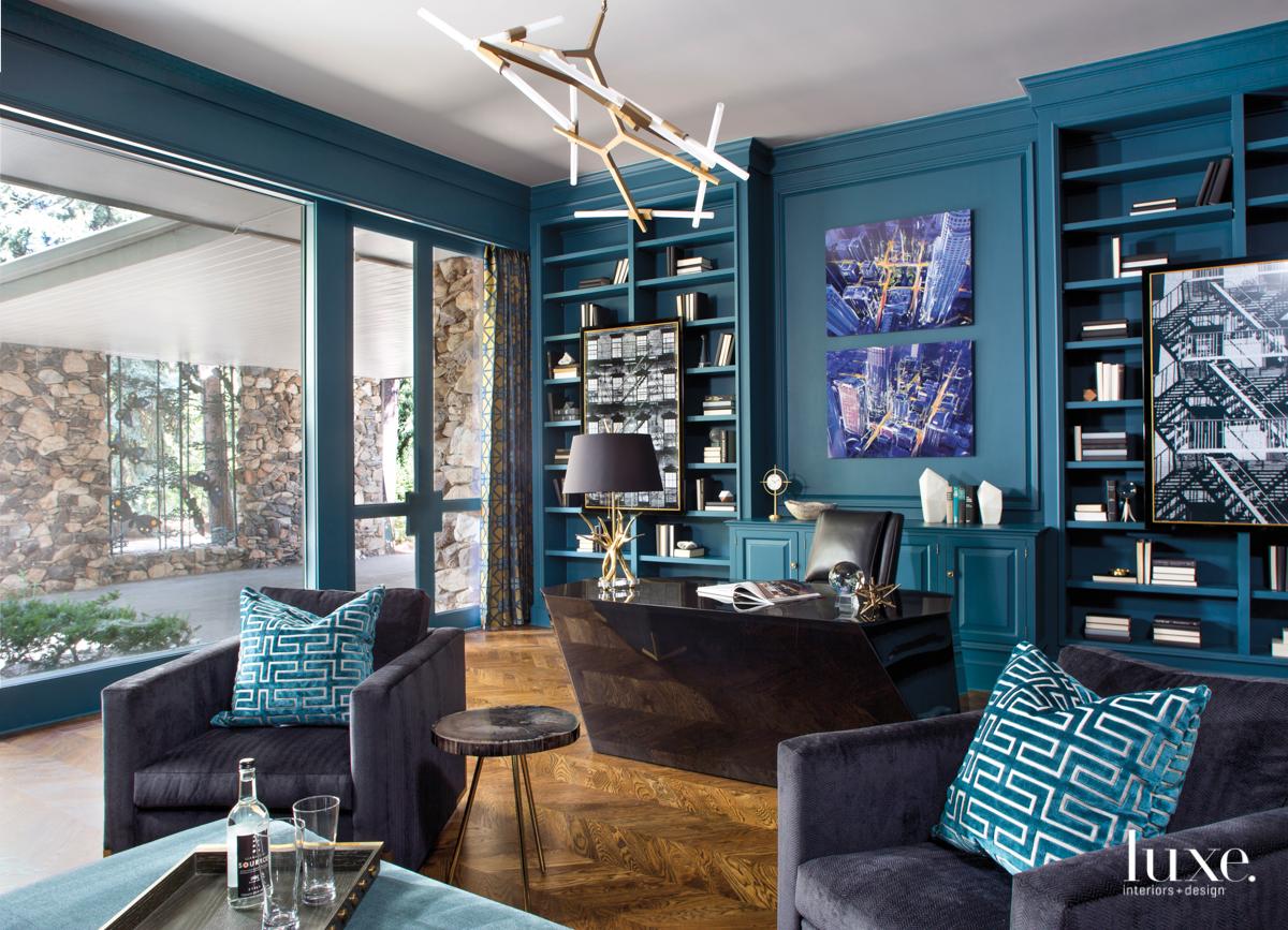 mid-century modern blue study