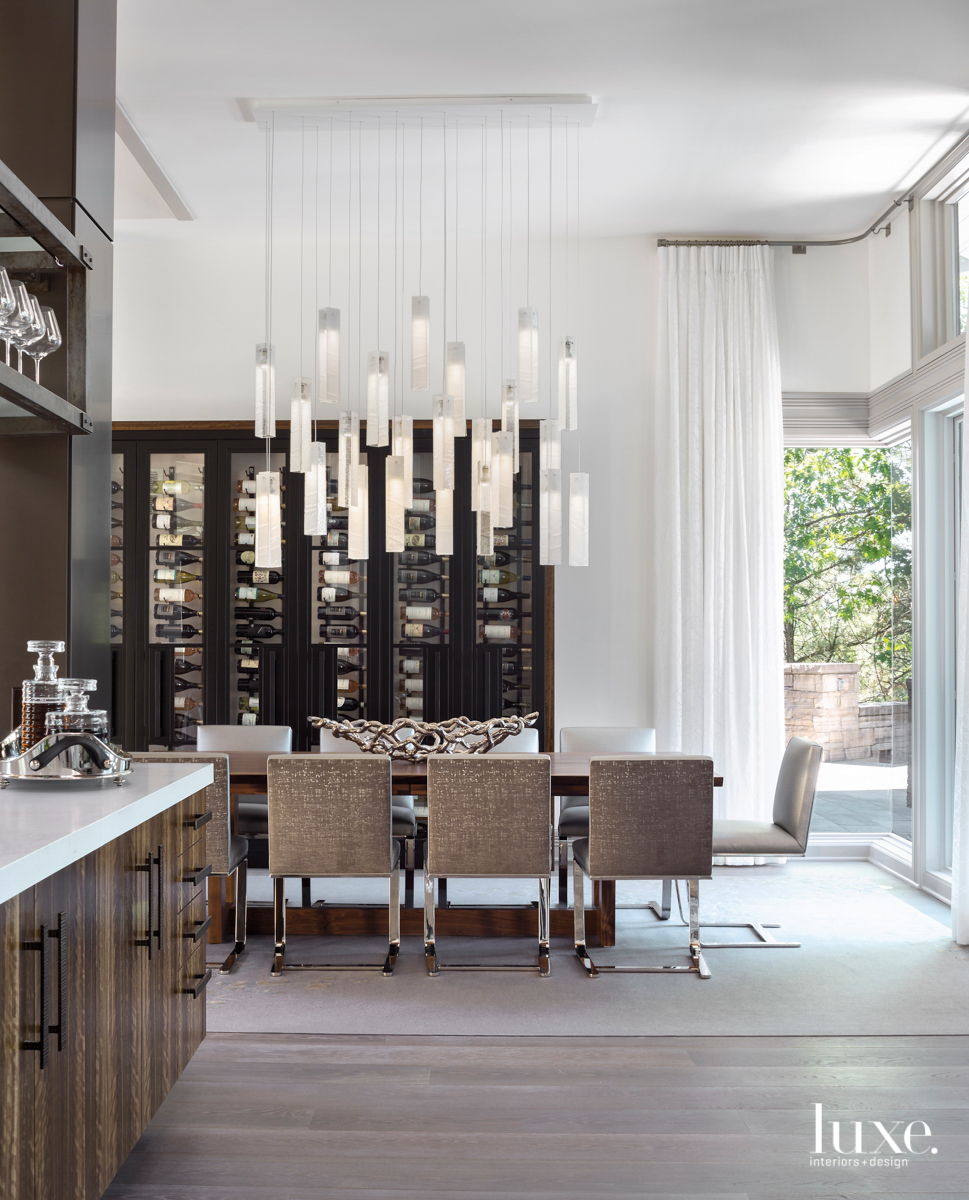 contemporary brown and white dining...