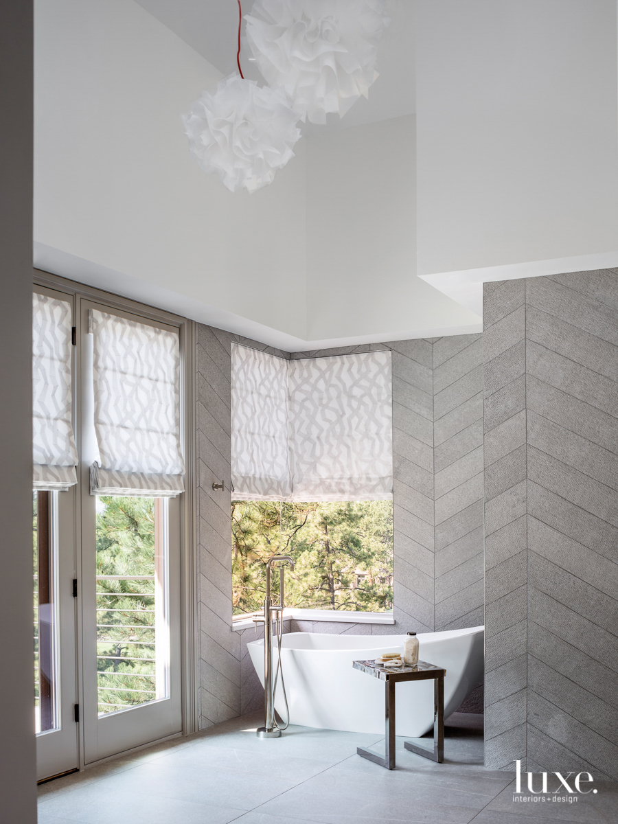 contemporary gray bathroom white tub