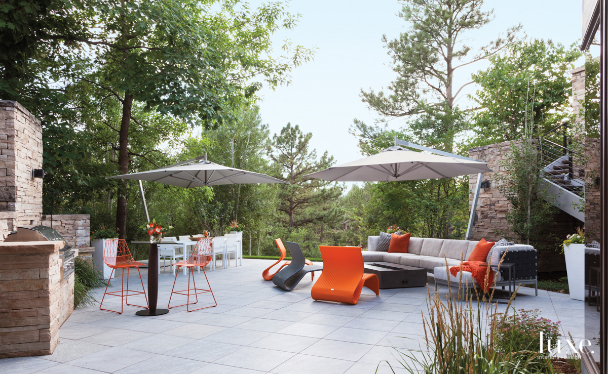 contemporary exterior sitting area orange...