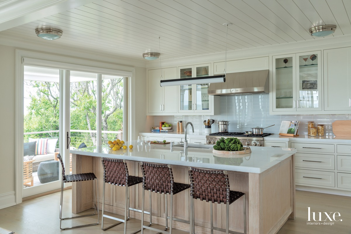 transitional kitchen neutral palette white...