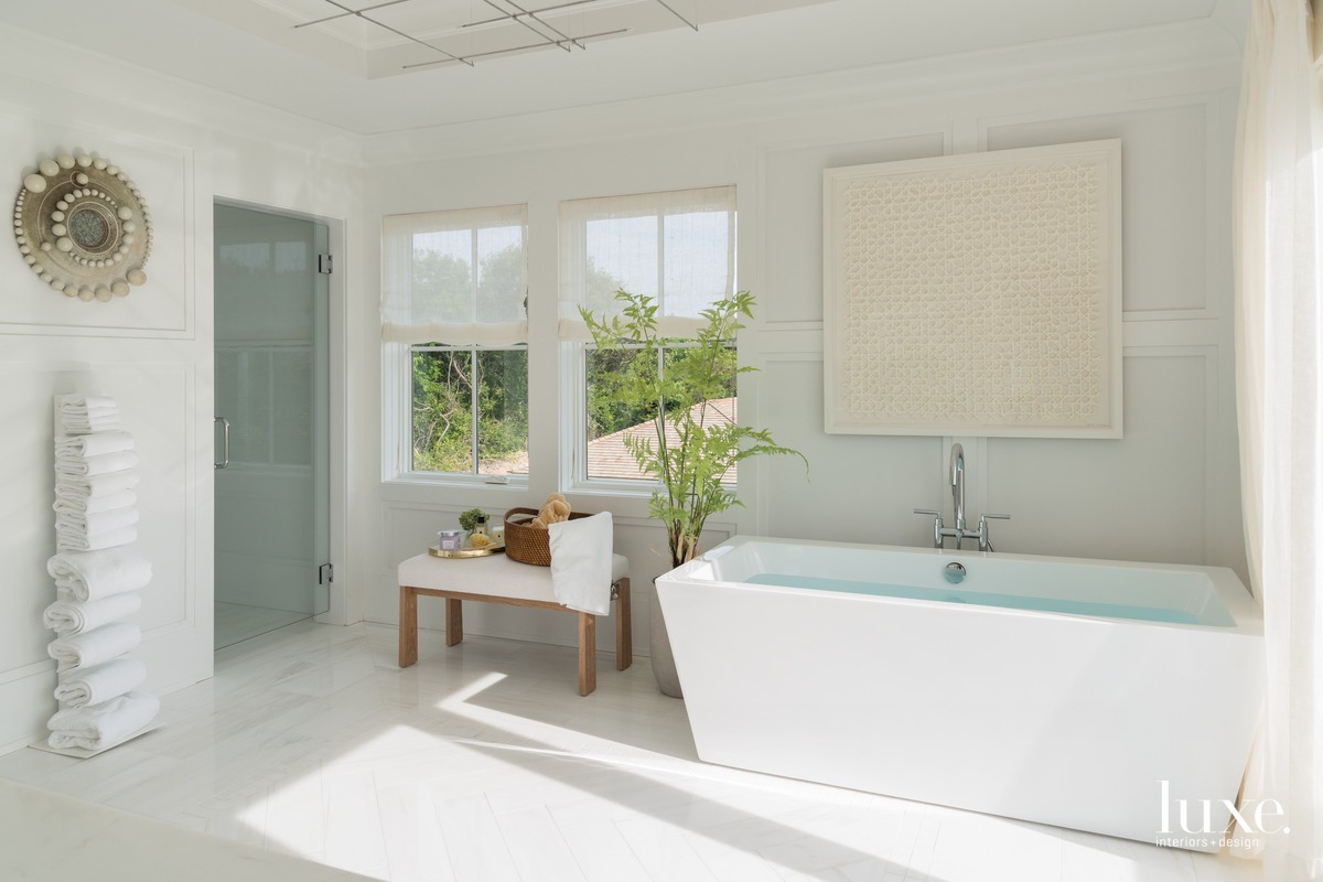 transitional white bathroom freestanding acrylic...