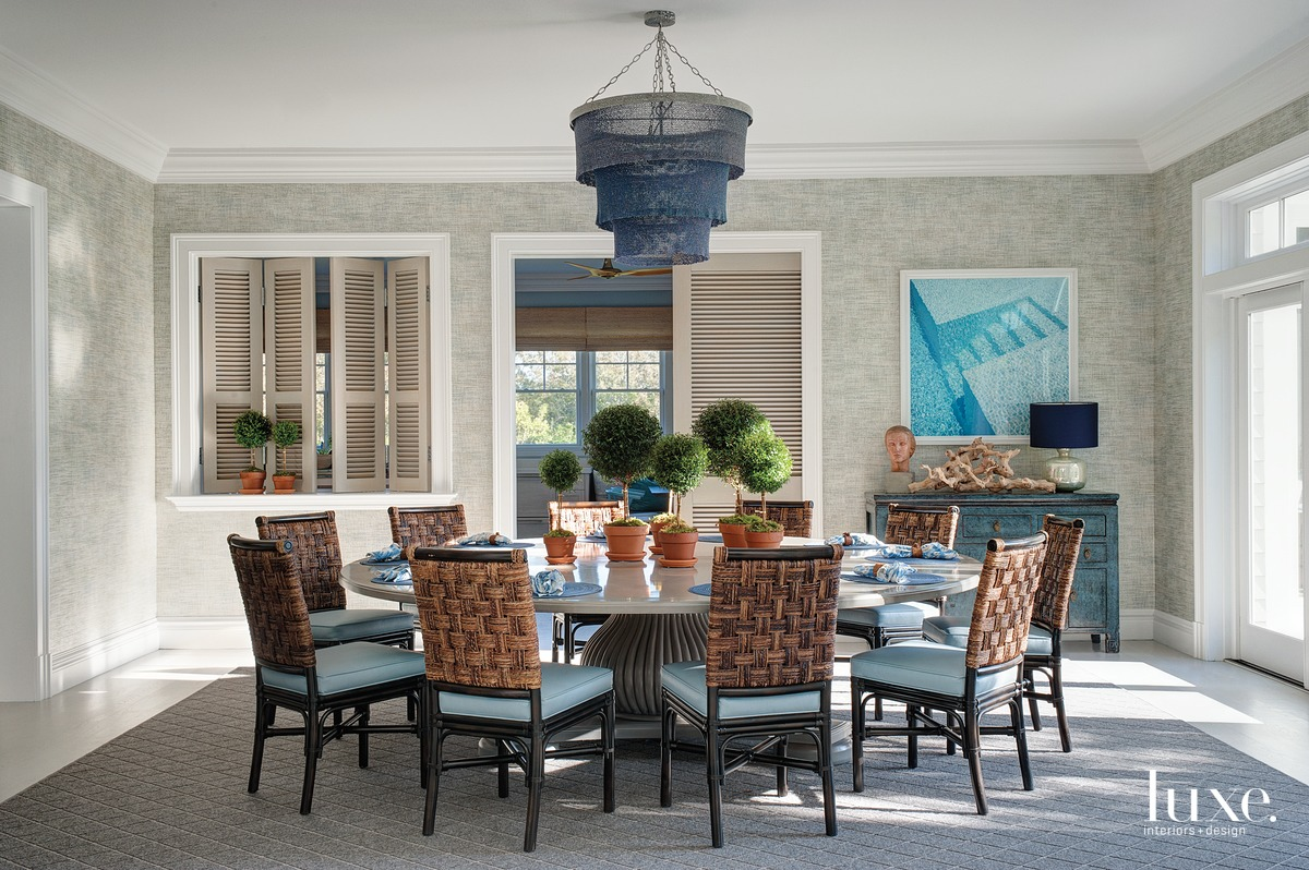 coastal dining room rattan-and-rope chairs...