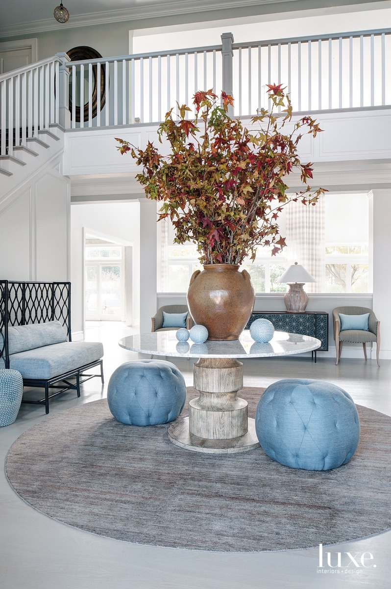 coastal foyer blue accents