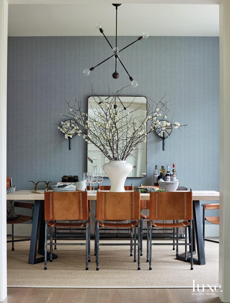 modern dining room gray walls...
