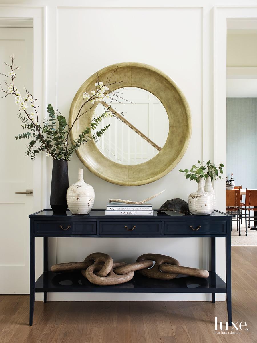 modern neutral palette hallway console...