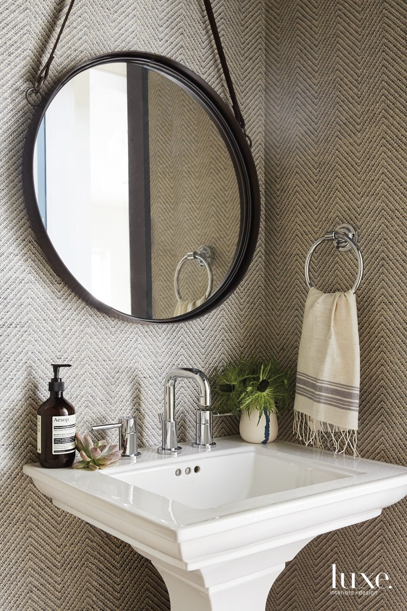 modern neutral bathroom gray chevron...