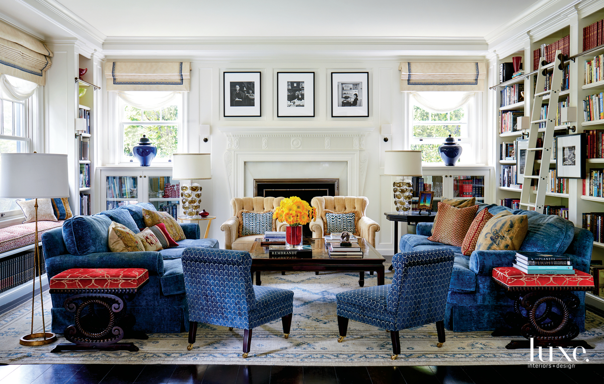 traditional living room blue accents